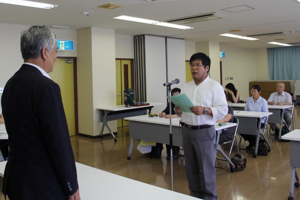 塾生代表の植田さんによるあいさつ